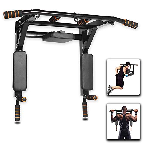Gielmiy Klimmzugstange wandmontage,Multifunktionale Pull-Up-Bar Trainingsstange Dip-Station für Oberkörper, Workout, Zuhause, Fitnessstudio, maximale Belastung 440 kg