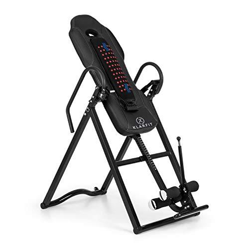 Klarfit Ease Delux - Inversionsbank, Schwerkrafttrainer, Rückentrainer, Inversionstisch, Entlastung der Wirbelsäule, bis 136kg Körpergewicht, Wärme-und Massagefunktion, schwarz