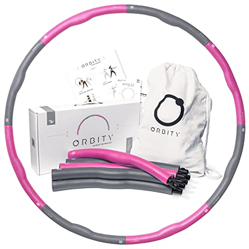 RIGHT TECHNOLOGY™ Orbity Fitness Hula Hoop Reifen zum Abnehmen · 1,2 kg · Zerlegbarer Hoola Reifen mit Schaumstoff für Erwachsene · Anfänger & Fortgeschrittene · Hulahoopreifen mit Tasche · Rosa