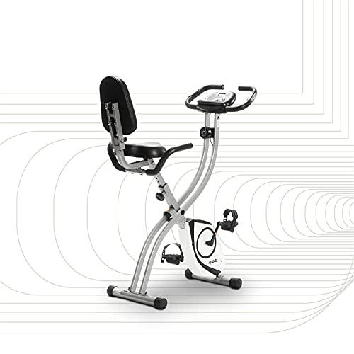 SportPlus Heimtrainer klappbar für zuhause, optional mit App Steuerung, Rückenlehne,Pulsmessung, manuelle oder computergesteuerte Widerstände, X Bike platzsparend faltbar, Sicherheit geprüft