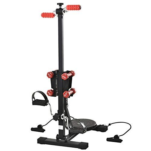 HOMCOM Beintrainer für Senioren, Pedal-Heimtrainer, Höhenverstellbare Fitnessgeräte für Arm & Bein, Übung Fahrrad mit 4 Hanteln, 1 Bungee-Seil, Schwarz, 40 x 60 x 102-116 cm