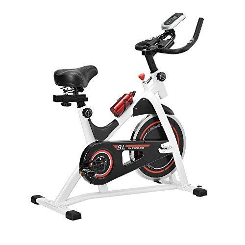 in.tec Heimtrainer 115x50x110cm mit LCD-Display Fahrrad Fitness Bike Trimmrad Indoor Cycling Polster-Sattel Höhenverstellbar Weiß