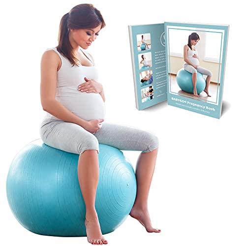 BABYGO Gymnastikball Schwangerschaft Sitzball Büro Schwangere Yoga Pezziball + 100 Seiten Schwangerschaftsbuch für Geburt & Fitness Anti-Burst 1000KG Pezzi Ball 65cm