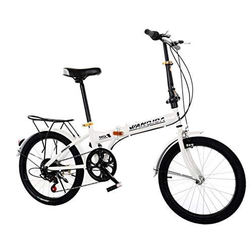 LIEIKIC 20 Zoll Klapprad Faltrad Nabenschaltung Leichte 6 Gang Stoßdämpfung Geschwindigkeit Shimano Klappfahrrad Folding Bike (White)
