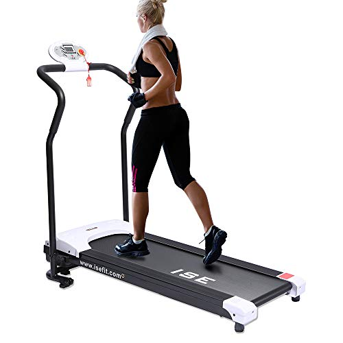 ISE Laufband klappbar Heimtrainer 750W 10KM/H für GEH und Lauftraining mit LCD Bildschirm,verstellbar Programmen,Anti-Interferenz,inkl.Zeit,Geschwind,Entfernung,Kalorienverbrauch für zuhause