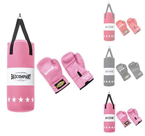 Bad Company Box-Set für Kinder und Jugendliche I Canvas Boxsack, gefüllt - inkl. Aufhängung I 8 OZ Boxhandschuhe I 60 x 25 cm – Rosa