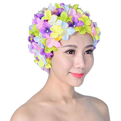 Damen Badekappe, Retro atmungsaktive Badekappe mit Blumen – Blütenblatt-Badekappe Gr. One size, mehrfarbig