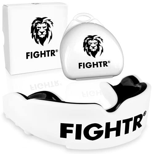 FIGHTR® Premium Mundschutz - ideale Atmung & leicht Anpassbar   Sport Zahnschutz für Boxen, MMA, Muay Thai, Hockey & Kampfsport   inkl. Hygiene Box (Weiß)