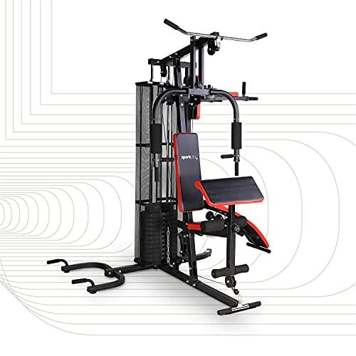 SportPlus Kraftstation, Multifunktionale Fitnessstation inkl. Gewichte, verstellbare Sit-Up-Bank, Dip-Station, Liegestützgriffe, Sicherheit geprüft - SP-HG-015 , schwarz/rot