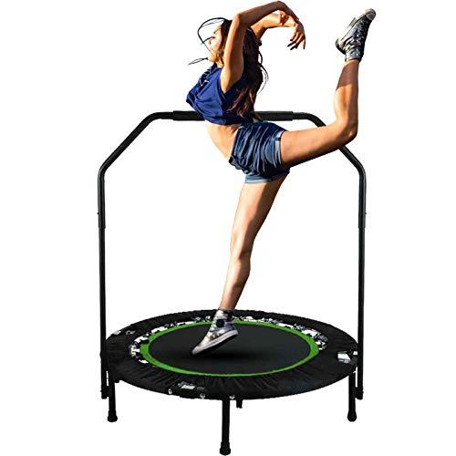 Hurbo Faltbares Mini-Trampolin, 101,6 cm, maximale Belastung 136 kg, Rebounder-Trampolin, Übung, Fitness, Trampolin mit verstellbarem Handlauf für Erwachsene und Kinder (Grün)
