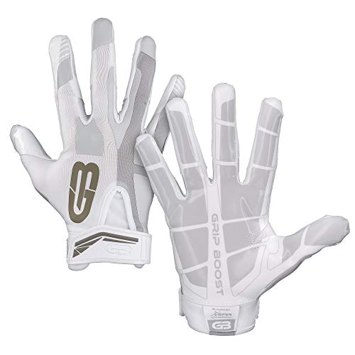 GRIP BOOST Stealth Fußball Handschuhe Pro Elite (White, Youth Medium)