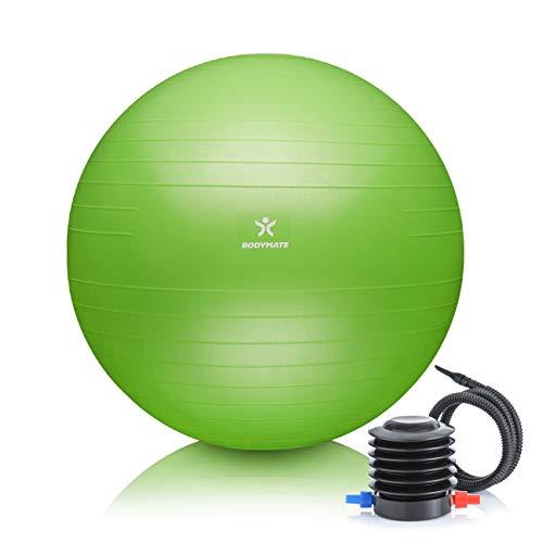 BODYMATE Gymnastikball Sitzball Trainingsball mit GRATIS E-Book inkl. Luft-Pumpe, Ball für Fitness, Yoga, Gymnastik, Core Training, für starken Rücken als Büro-Stuhl Lime-Green 65cm