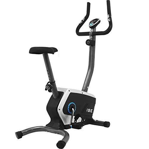 ISE Fahrrad Ergometer Fitness Heimtrainer mit Pulssensoren & Computer 8 Widerstandsstufen Sattel verstellbar Schwungrad,Nutzergewicht bis 120 kg Sicherheit geprüft SY-8801