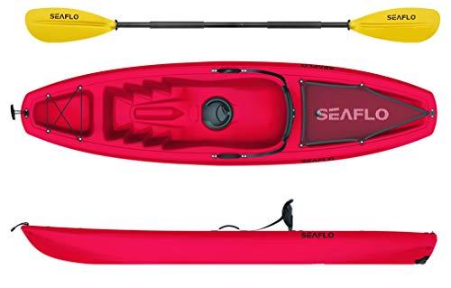 Seaflo Sit on Top Kajak mit Paddel und Angelrutenhalter -rot-