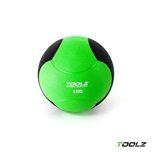 TOOLZ Medizinball 2kg Fitnessball aus Gummi Gymnastikball mit griffiger Oberfläche – optimal für Krafttraining
