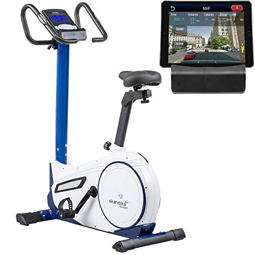 skandika Ergometer Morpheus, Fitnessbike, Heimtrainer mit Steuerung und Street View Funktion, Pulsgurt, 32 einstellbare Widerstandseinstellung und Multifunktionscomputer (weiß/blau)