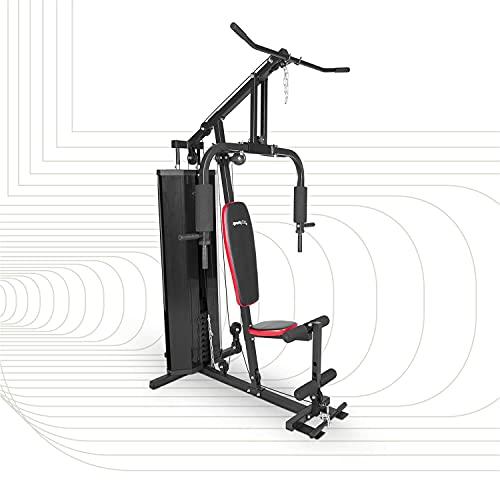 SportPlus Kraftstation, Multifunktionale Fitnessstation inkl. Gewichte, geeignet für niedrige Deckenhöhe, Sicherheit geprüft - SP-HG-012 , schwarz/rot