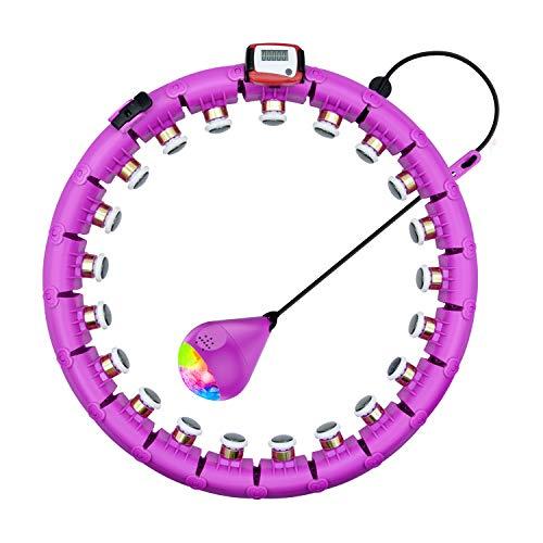 SPMOVE Smart Fitness Reifen, Auto-Spinning Ring, Einstellbar Fitness Reifen Gewichtsverlust mit Massagenoppe 24 Segmente Nicht Fällt Reifen mit Seilspringen, für Kinder Erwachsene