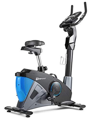 Hop-Sport Heimtrainer Fahrrad HS-090H inkl. Unterlegmatte - Ergometer mit App-Steuerung, 12 Trainingsprogrammen, 32 computergesteuerten Widerstandsstufen - Fitnessbike max. Nutzergewicht 150 kg Grafit