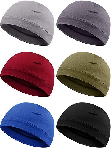 6 Pieces Men Skull Caps Cotton Beanies Sleep Hats Multifunctional Helmet Liner Cap for Men and Women (Vintage Colors)