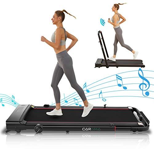 CAROMA 550W Laufband Für Zuhause Klappbar 2-in-1 Laufband Elektrisch bis 110kg Leiser Schreibtisch-laufband Klein mit Bluetooth Lautsprecher 1-12km/h für Aerobic-Übungen Innenräumen (Schwarz)