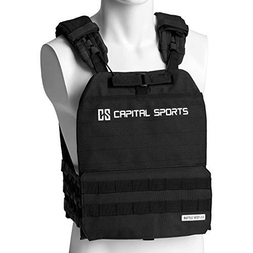 Capital Sports Battlevest 2.0 Gewichtsweste,inklusive 2 Gewichtsplatten: 2x8.75lbs,hoher optimale Gewichtsverteilung durch Dicke Polsterung an Schultern, Brust und Rücken, schwarz