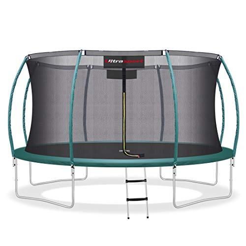Ultrasport Garten Trampolin XL, 430 cm Durchmesser, belastbar bis 150 kg, großes Outdoor Trampolin mit viel Platz und vielen Sicherheitsmerkmalen, Trampolin Komplettset inkl. Sicherheitsnetz, grün
