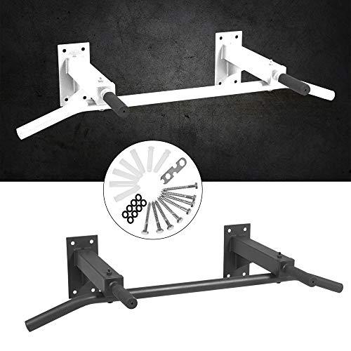 GORILLA SPORTS® Klimmzugstange zur Wandmontage Stahl Schwarz – Pull Up Bar Wand mit Multigriff max. Belastbarkeit bis 350 kg