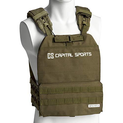 Capital Sports Battlevest 2.0 - Gewichtsweste, hoher optimale Gewichtsverteilung durch Dicke Polsterung an Schultern, inklusive 2 Gewichtsplatten: 2X 8.75 lbs, olivgrün