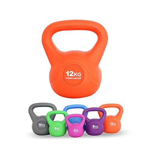 Train Hard Kettlebell 4-16 kg, Kugelhantel Kunststoff mit Zement Füllung in 6 Farbig, Studio-Qualität für Krafttraining Gymnastik und Heimtraining (12 KG - Orange)…