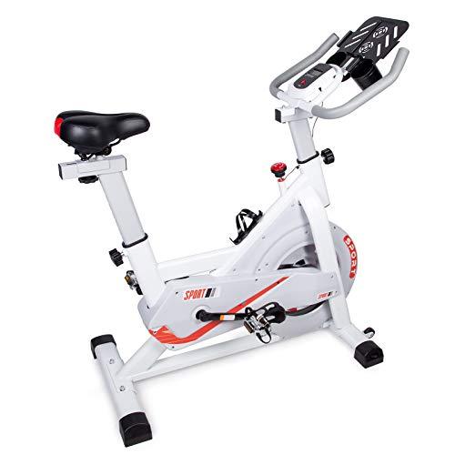 EVOLAND Profi Heimtrainer Fahrrad mit Schwungscheibe & leisem Riemenantrieb inkl. LCD Display | Fitnessgeräte für Zuhause – Indoor Bike 120 kg