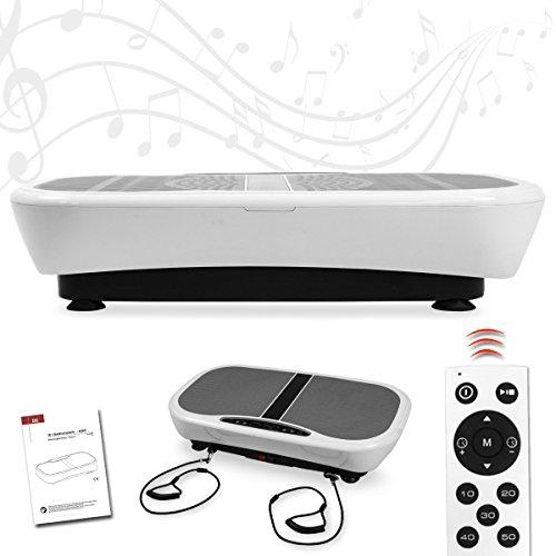 Letix Sports Profi Vibrationsplatte mit 3D Wipp-Vibration + Bluetooth Musik inkl. Lautsprecher, große Standfläche, 2 Kraftvolle Motoren + Trainingsbänder und Fernbedienung (weiß)