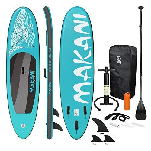 ECD Germany Aufblasbares Stand Up Paddle Board Makani | 320 x 82 x 15 cm | Türkis | PVC | bis 150 kg | Pumpe Tragetasche Zubehör | SUP Board Paddling Board Paddelboard Surfboard | verschiedene Modelle