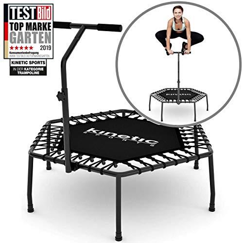 Kinetic Sports Fitness Trampolin Indoor Ø 110 cm, Hexagon, höhenverstellbarer Haltegriff, Gummiseilfederung, OHNE Randabdeckung, belastbar bis 120 kg