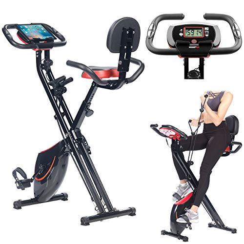 PEARL sports Klappheimtrainer: 2in1-Klapp-Heimtrainer, 2 Expander, Tablet-Halter, 2,5 kg Schwungmasse (Trainer)