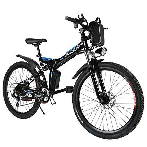 ANCHEER E-Bike Elektrofahrräder E Klapprad , 36V Akku, 26 '' faltbares Elektrofahrrad mit 250W Motor und 21 Gang-Schaltung, Pedelec für Damen und Herren