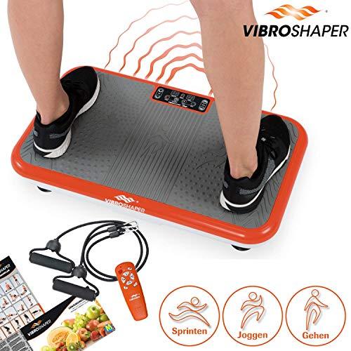 Mediashop VibroShaper – Fitness Vibrationsplatte bringt den Körper in Form – Vibrationstrainer für unterschiedliche Muskelgruppen – inklusive Fitnessbänder – orange
