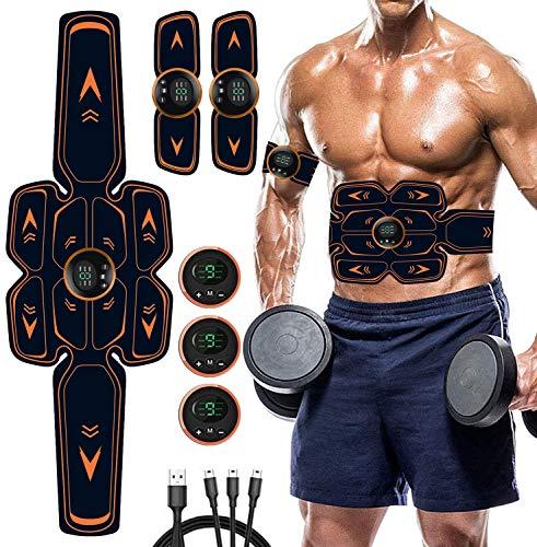 AILEDA EMS Muskelstimulator Bauchtrainer ABS Trainingsgerät, USB-Wiederaufladbarer Tragbarer Muskelstimulator, Elektrisch Bauchmuskeltrainer Fitnessgürtel für Damen Herren