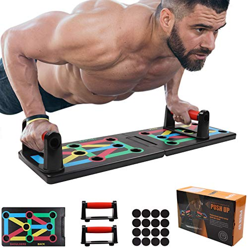 GLKEBY 12 in 1 Push up Board, faltbares tragbares Push-up-Rack-Board, multifunktionale farbcodierte Fitness Push up Board, für Indoor-, Turn- und Outdoor-Muskeltraining Fitnessübungen
