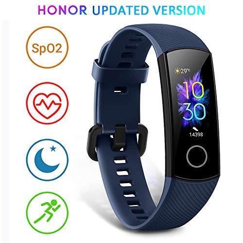 HONOR Band 5 Fitness Armband mit Pulsmesser, Wasserdicht IP68 Pulsuhren Fitness Tracker Aktivitätstracker Schrittzähler Uhr Herren- und Damensmartwatch Anruf Nachrichten beachten Blau