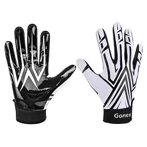 Gonex American Football Handschuhe Receiver Handschuhe für Rugby Game Youth Erwachsene Herren, Weiß, L