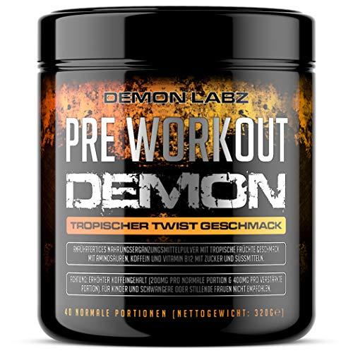 Pre Workout Demon - Pre Workout Booster mit Vitamin B12 was zur Verringerung von Müdigkeit & Ermüdung beiträgt - Mit Koffein, Beta Alanin & Glutamin (Tropischer Twist Geschmack - 320g)