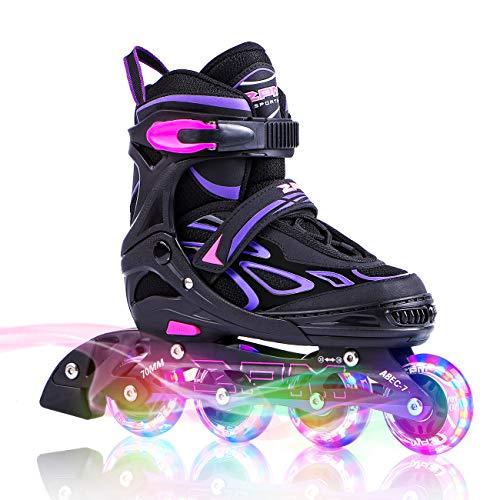 2PM SPORTS Verstellbar Inliner für Kinder, Leucht Inline Skates Rollschuhe für Damen/Herren (Purple, Large(37-40EU))