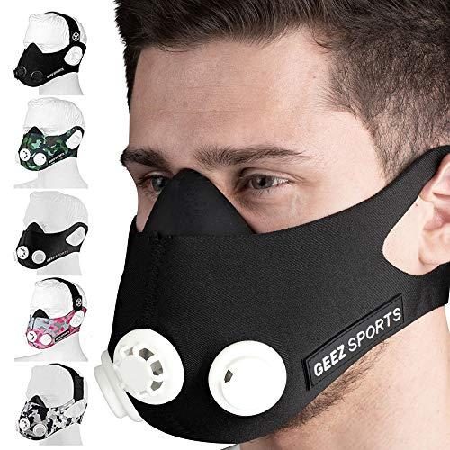 Geez Trainingsmaske für Ausdauertraining inkl. Wiederstandskappen für 6 Intensitätsstufen (Black & White)