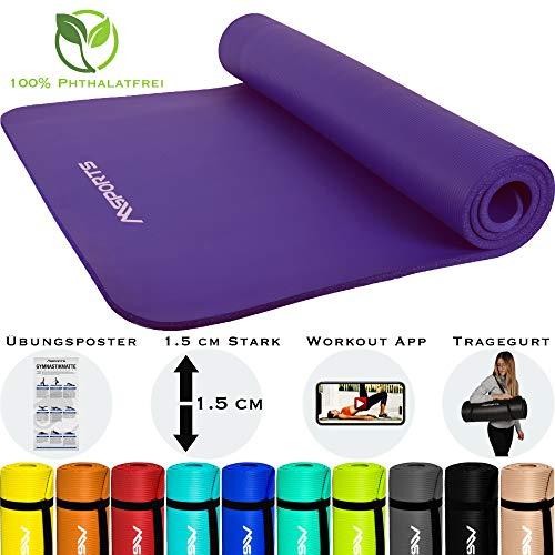 MSPORTS Gymnastikmatte Premium inkl. Tragegurt + Übungsposter + Workout App I Hautfreundliche Fitnessmatte 190 x 60 x 1,5 cm - Violett - Phthalatfreie Yogamatte