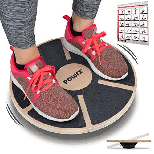 POWRX Balance Board I Wackelbrett aus Holz für propriozeptives Training und Physiotherapie inkl. Workout I Therapie-Kreisel