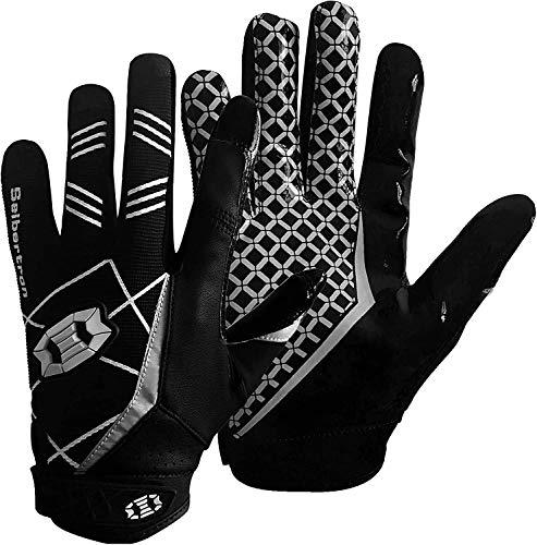 Seibertron Pro 3.0 Elite Ultra-Stick Sports Receiver/Empfänger Handschuhe American Football Gloves Jugend und Erwachsener Black L