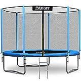 NeoSport Trampolin 305 cm 10 ft mit Sicherheitsnetz Außennetz und Einstiegsleiter Gartentrampolin
