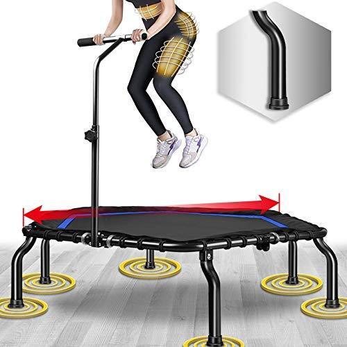 Happy Jump Fitness Trampolin,Ø ca 127 cm, Jumping Fitness Trampolin mit höhenverstellbarer Haltegriff für Indoor,bis 250lbs Benutzergewicht