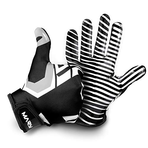Hail Mary American Football Handschuhe Gloves Receiver Empfänger 2.0 Black & White Edition (L)